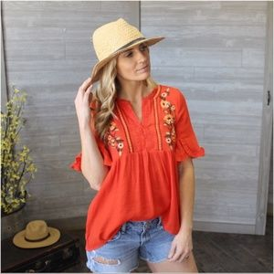 Floral Embroidered Flutter Sleeve Tunic